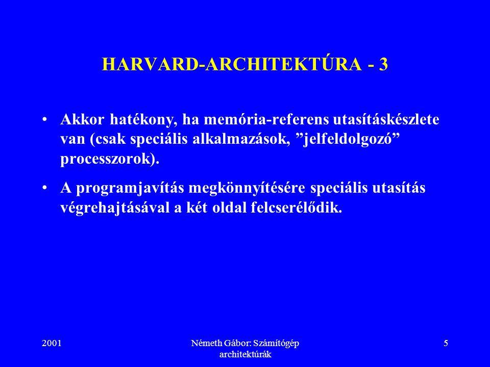 2001Németh Gábor: Számítógép architektúrák 5 HARVARD-ARCHITEKTÚRA - 3 Akkor hatékony, ha memória-referens utasításkészlete van (csak speciális alkalmazások, jelfeldolgozó processzorok).
