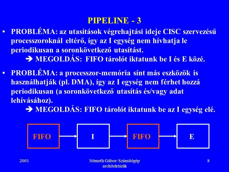 2001Németh Gábor: Számítógép architektúrák 8 PIPELINE - 3 PROBLÉMA: az utasítások végrehajtási ideje CISC szervezésű processzoroknál eltérő, így az I