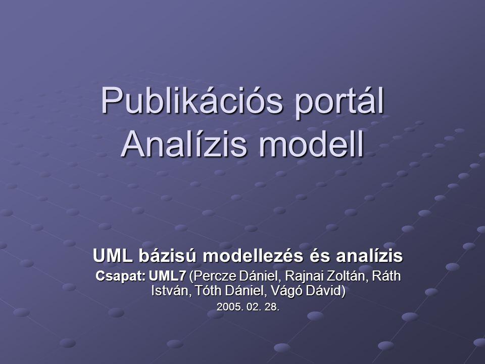 Publikációs portál Analízis modell UML bázisú modellezés és analízis Csapat: UML7 (Percze Dániel, Rajnai Zoltán, Ráth István, Tóth Dániel, Vágó Dávid)