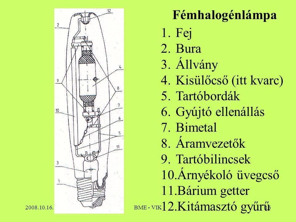 2008.10.16.BME - VIK16 Fémhalogénlámpa 1.Fej 2.Bura 3.Állvány 4.Kisülőcső (itt kvarc) 5.Tartóbordák 6.Gyújtó ellenállás 7.Bimetal 8.Áramvezetők 9.Tart