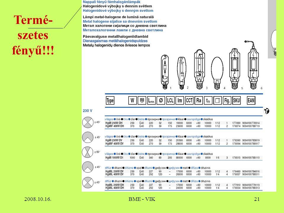 2008.10.16.BME - VIK21 Termé- szetes fényű!!!