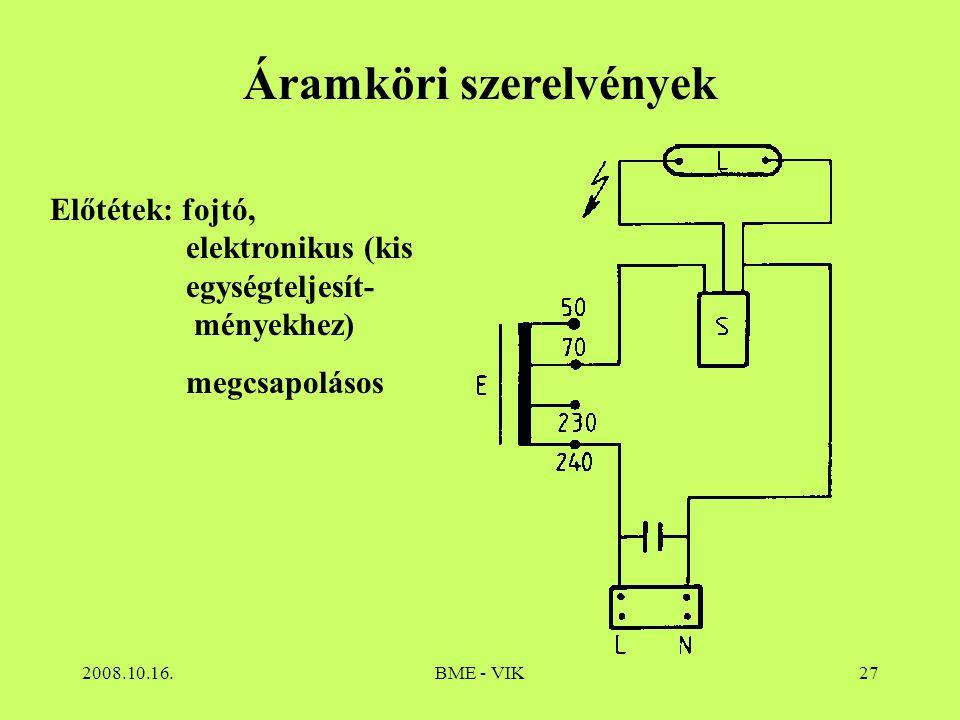2008.10.16.BME - VIK27 Áramköri szerelvények Előtétek: fojtó, elektronikus (kis egységteljesít- ményekhez) megcsapolásos