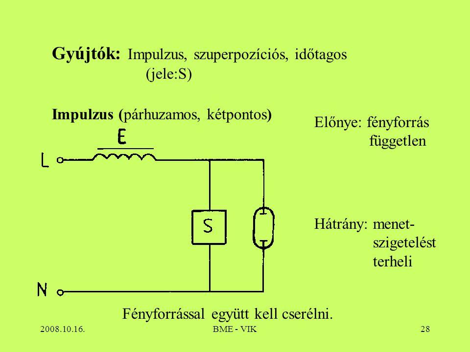 2008.10.16.BME - VIK28 Gyújtók: Impulzus, szuperpozíciós, időtagos (jele:S) Impulzus (párhuzamos, kétpontos) Előnye: fényforrás független Hátrány: men
