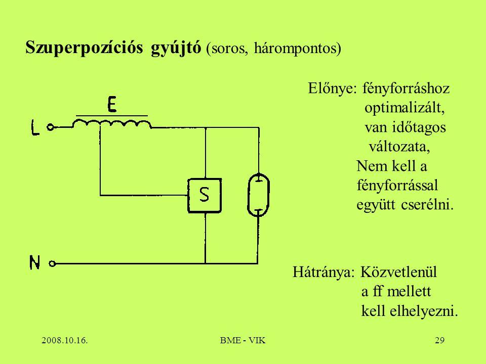 2008.10.16.BME - VIK29 Szuperpozíciós gyújtó (soros, hárompontos) Előnye: fényforráshoz optimalizált, van időtagos változata, Nem kell a fényforrással