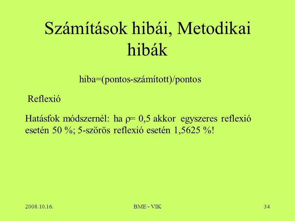 2008.10.16.BME - VIK34 Számítások hibái, Metodikai hibák Hatásfok módszernél: ha  = 0,5 akkor egyszeres reflexió esetén 50 %; 5-szörös reflexió eseté