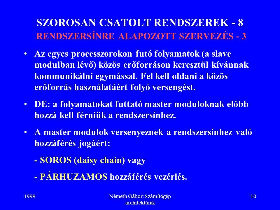 1999Németh Gábor: Számítógép architektúrák 10 SZOROSAN CSATOLT RENDSZEREK - 8 RENDSZERSÍNRE ALAPOZOTT SZERVEZÉS - 3 Az egyes processzorokon futó folya
