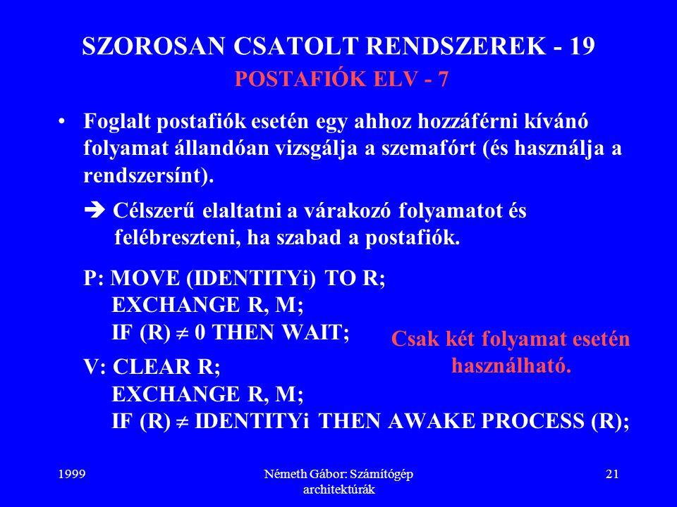 1999Németh Gábor: Számítógép architektúrák 21 SZOROSAN CSATOLT RENDSZEREK - 19 POSTAFIÓK ELV - 7 Foglalt postafiók esetén egy ahhoz hozzáférni kívánó