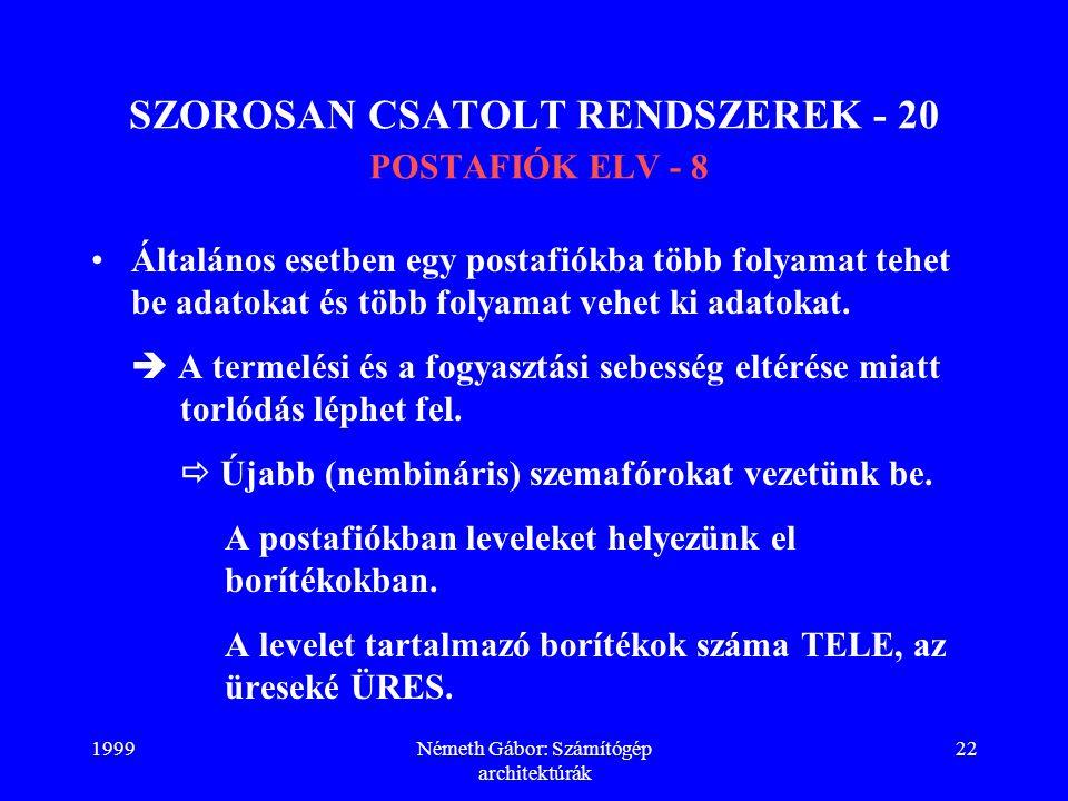 1999Németh Gábor: Számítógép architektúrák 22 SZOROSAN CSATOLT RENDSZEREK - 20 POSTAFIÓK ELV - 8 Általános esetben egy postafiókba több folyamat tehet