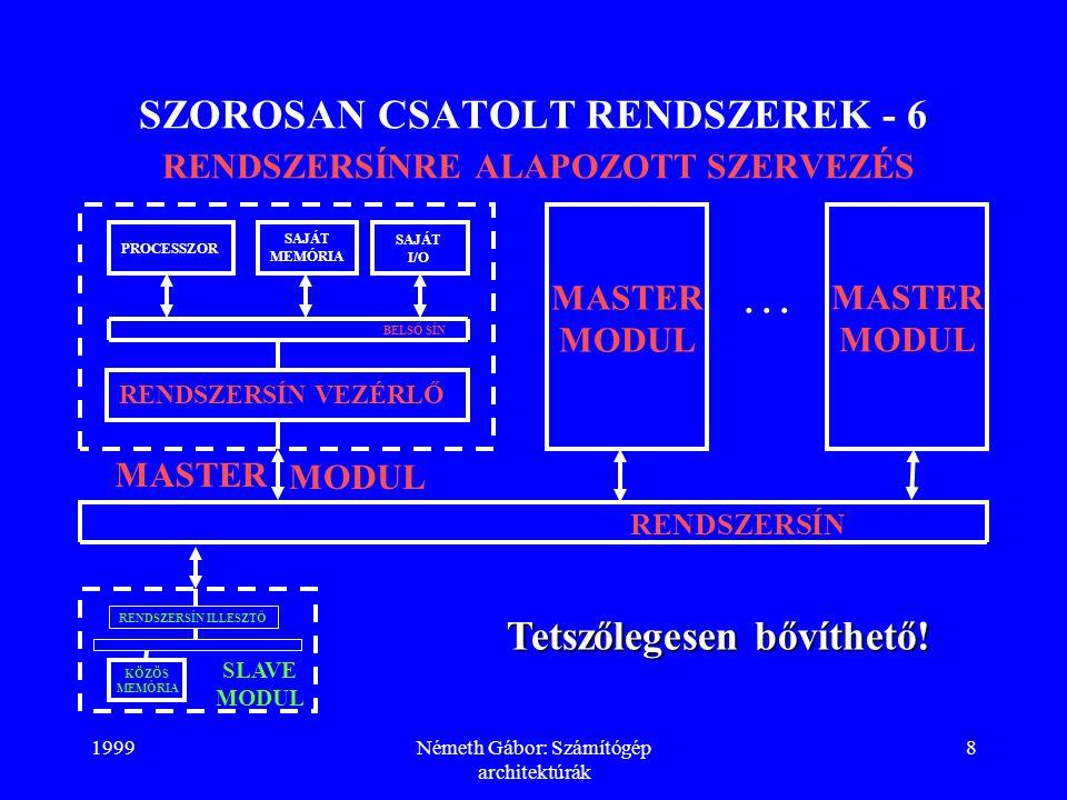 1999Németh Gábor: Számítógép architektúrák 19 SZOROSAN CSATOLT RENDSZEREK - 17 POSTAFIÓK ELV - 5 V: OUTPUT (BUS_LOCK) = 1; /*R.SÍN LEFOGLALÁSA*/ S = S + 1; /*SZEMAFÓR FELSZABADÍTÁSA*/ OUTPUT (BUS_LOCK) = 0; /*R.SÍN ELENGEDÉSE*/ ENDV; PROBLÉMA: foglalt postafiók esetén állandó vizsgálatot végzünk (korlátozva a rendszersín felhasználhatóságát a többi folyamat számára).