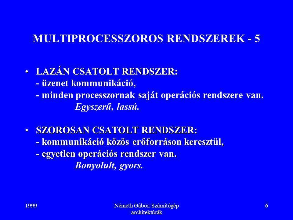 1999Németh Gábor: Számítógép architektúrák 6 MULTIPROCESSZOROS RENDSZEREK - 5 LAZÁN CSATOLT RENDSZER:LAZÁN CSATOLT RENDSZER: - üzenet kommunikáció, - minden processzornak saját operációs rendszere van.