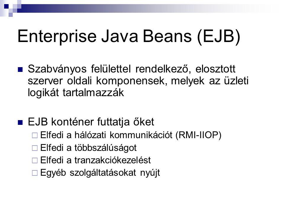 Enterprise Java Beans (EJB) Szabványos felülettel rendelkező, elosztott szerver oldali komponensek, melyek az üzleti logikát tartalmazzák EJB konténer