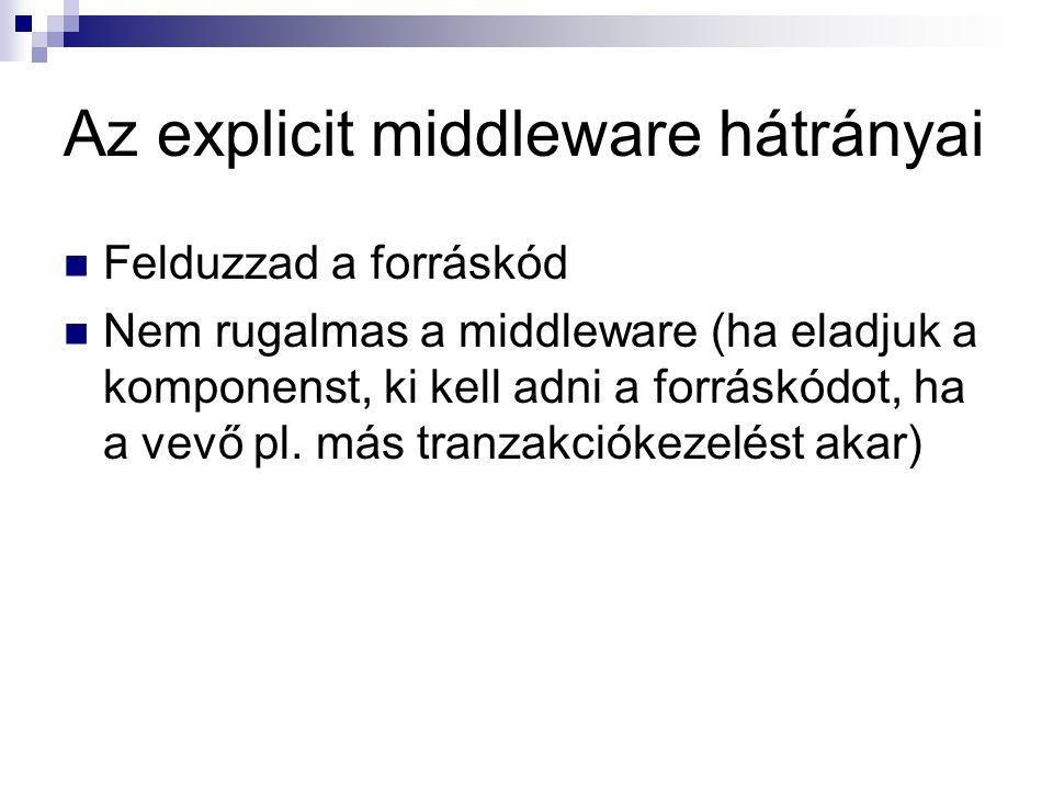 Az explicit middleware hátrányai Felduzzad a forráskód Nem rugalmas a middleware (ha eladjuk a komponenst, ki kell adni a forráskódot, ha a vevő pl. m