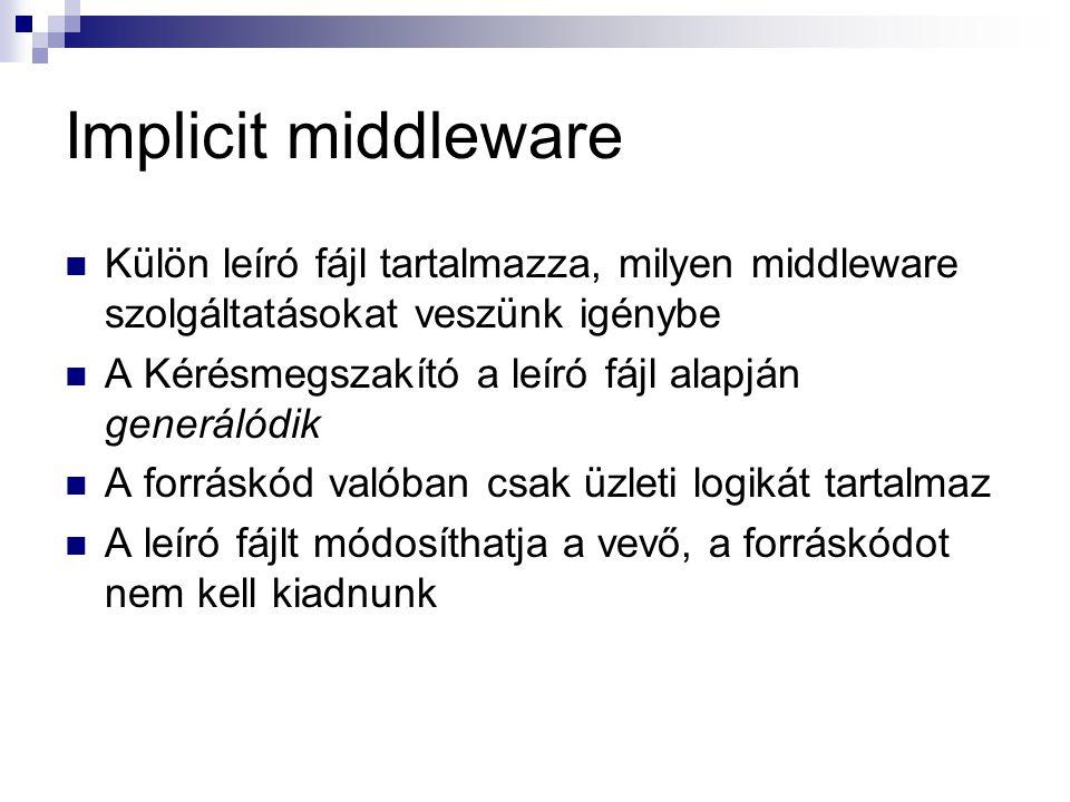 Implicit middleware Külön leíró fájl tartalmazza, milyen middleware szolgáltatásokat veszünk igénybe A Kérésmegszakító a leíró fájl alapján generálódi