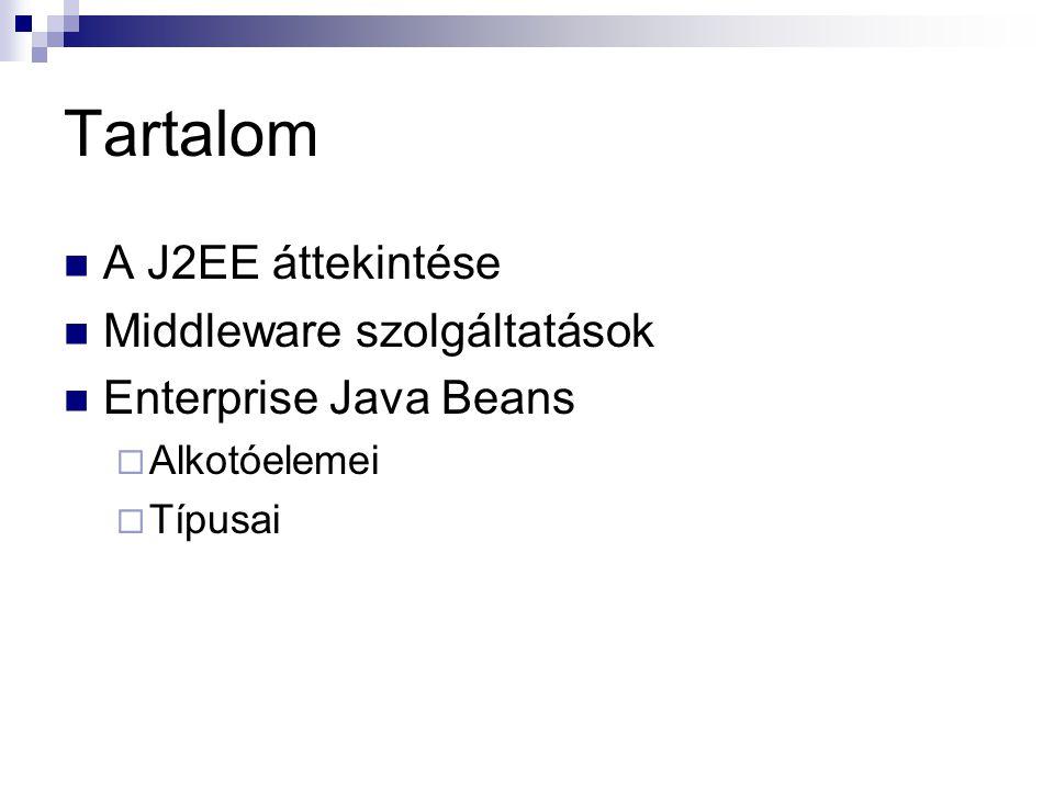 Tartalom A J2EE áttekintése Middleware szolgáltatások Enterprise Java Beans  Alkotóelemei  Típusai