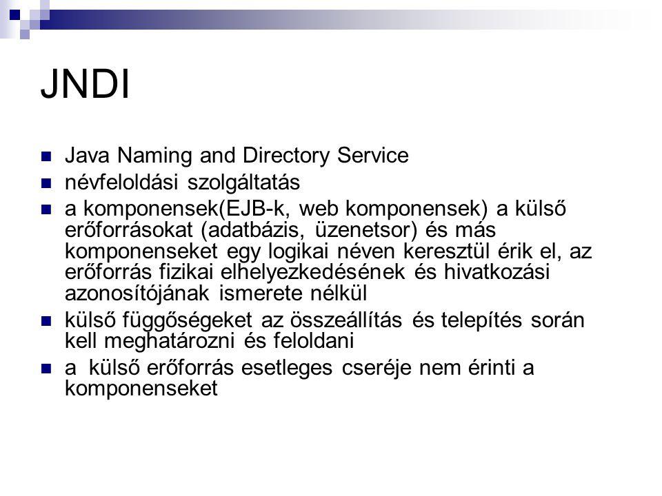 JNDI Java Naming and Directory Service névfeloldási szolgáltatás a komponensek(EJB-k, web komponensek) a külső erőforrásokat (adatbázis, üzenetsor) és