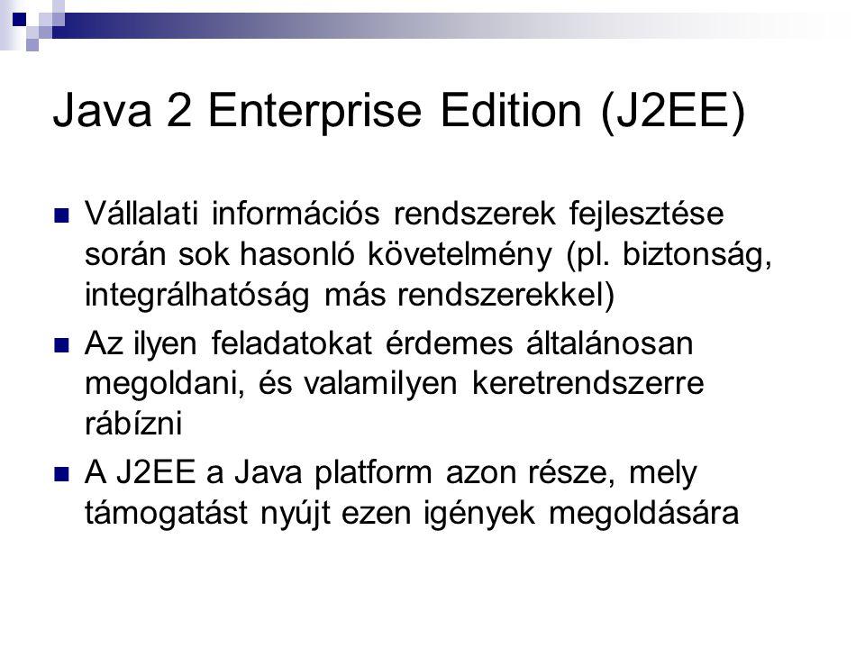 Java 2 Enterprise Edition (J2EE) Vállalati információs rendszerek fejlesztése során sok hasonló követelmény (pl. biztonság, integrálhatóság más rendsz
