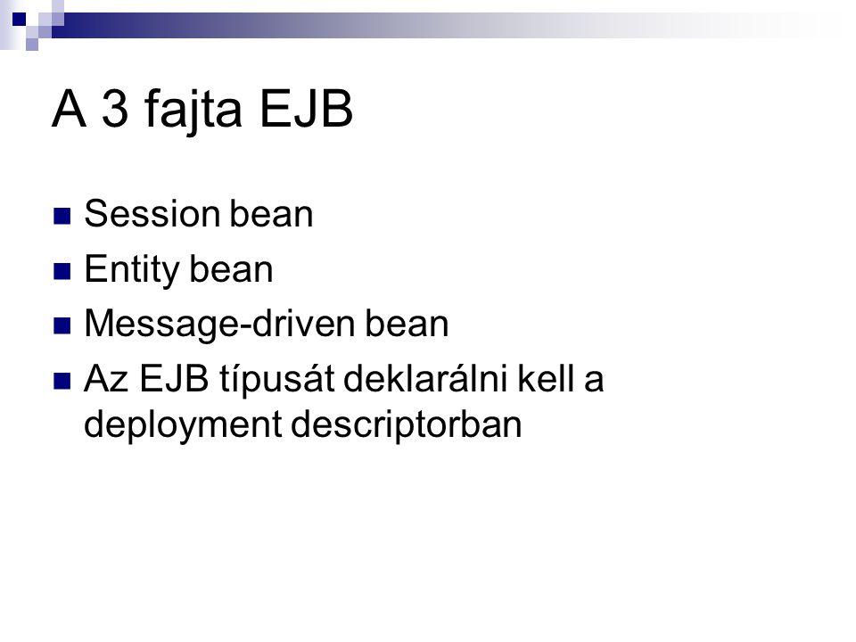A 3 fajta EJB Session bean Entity bean Message-driven bean Az EJB típusát deklarálni kell a deployment descriptorban