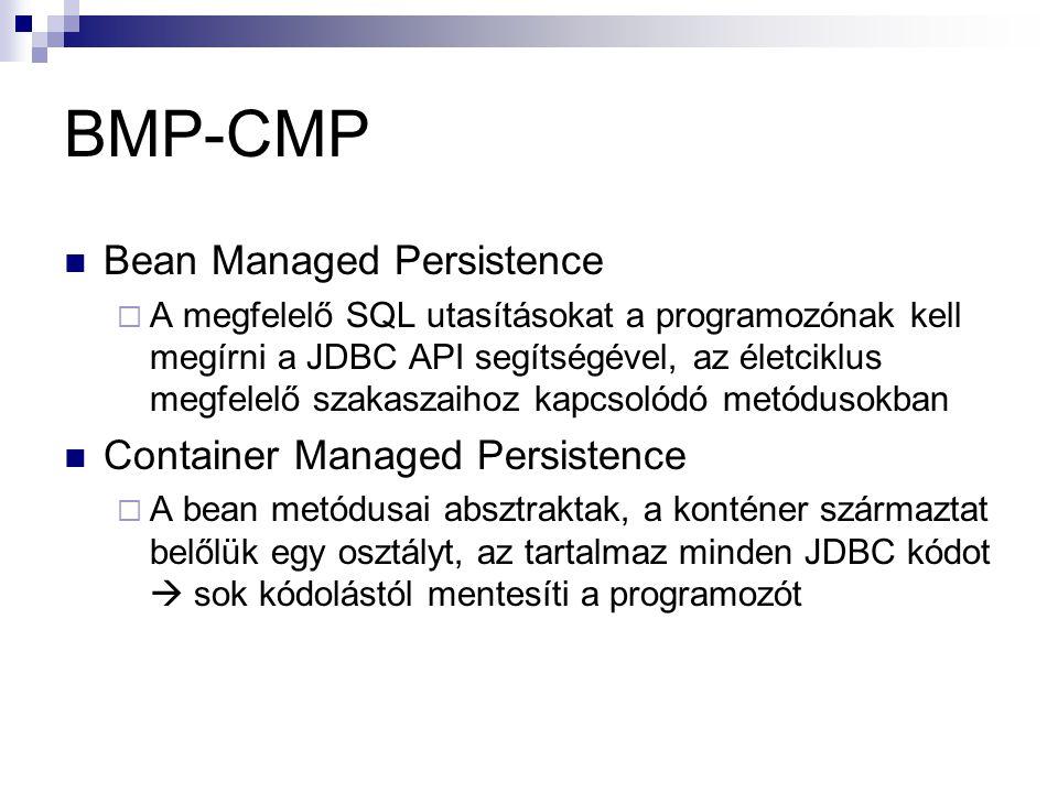 BMP-CMP Bean Managed Persistence  A megfelelő SQL utasításokat a programozónak kell megírni a JDBC API segítségével, az életciklus megfelelő szakasza