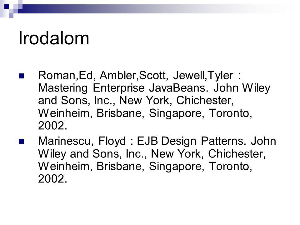 Irodalom Roman,Ed, Ambler,Scott, Jewell,Tyler : Mastering Enterprise JavaBeans. John Wiley and Sons, Inc., New York, Chichester, Weinheim, Brisbane, S