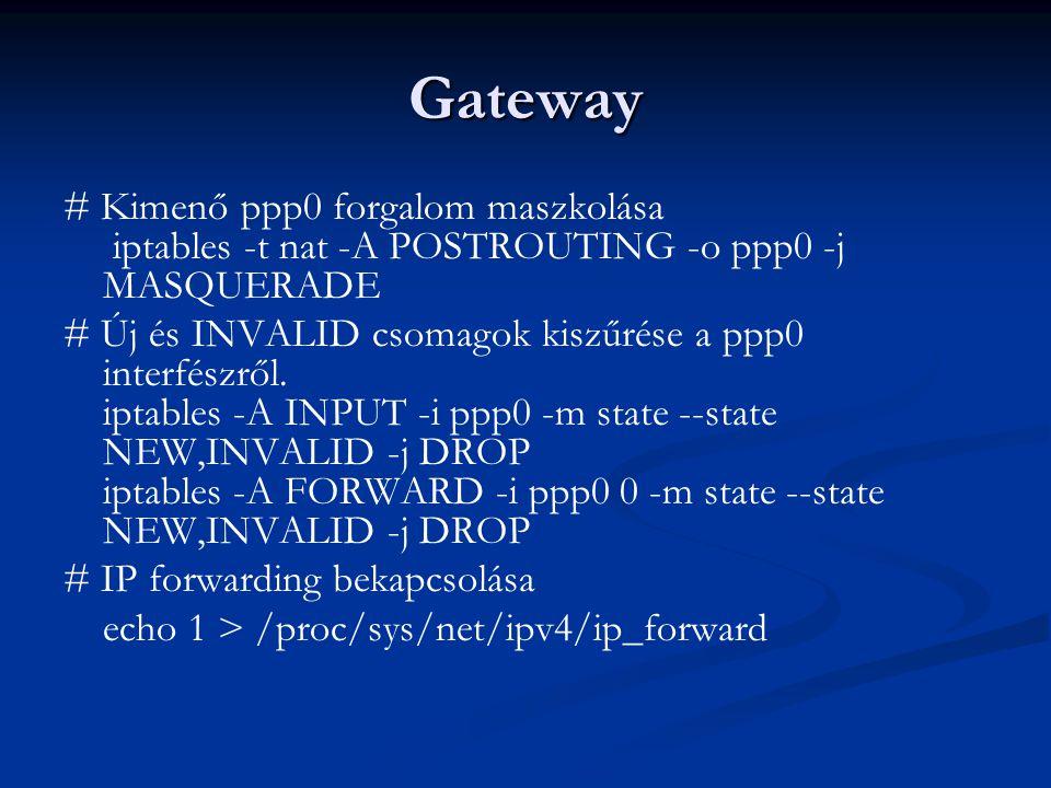Gateway # Kimenő ppp0 forgalom maszkolása iptables -t nat -A POSTROUTING -o ppp0 -j MASQUERADE # Új és INVALID csomagok kiszűrése a ppp0 interfészről.