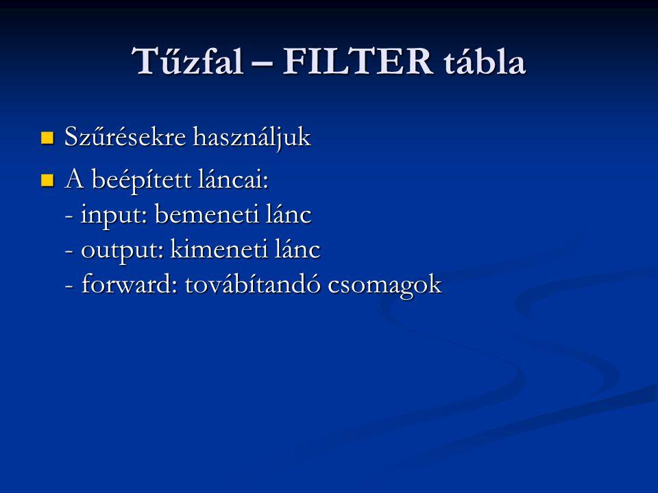 Tűzfal – FILTER tábla Szűrésekre használjuk Szűrésekre használjuk A beépített láncai: - input: bemeneti lánc - output: kimeneti lánc - forward: továbítandó csomagok A beépített láncai: - input: bemeneti lánc - output: kimeneti lánc - forward: továbítandó csomagok