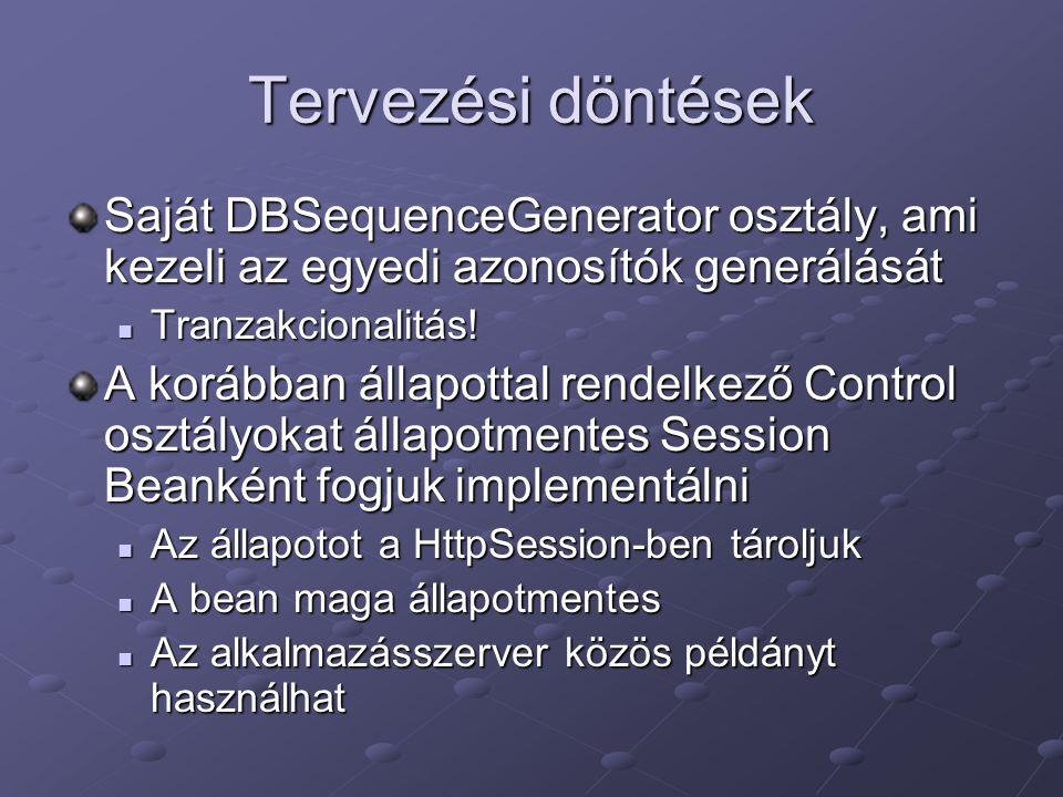 Tervezési döntések Saját DBSequenceGenerator osztály, ami kezeli az egyedi azonosítók generálását Tranzakcionalitás.