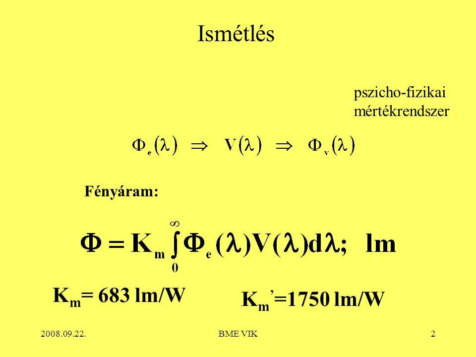 2008.09.22.BME VIK13 Példák a fényhasznosításra Elméleti maximum K m = 683 lm/W Fénycsöveknél: Név- leges teljesít- mény P n ; W Előtét típusa Előtét veszte- sége P e ; W Hálózati felvett teljesítmény P Σ ; W Fény- áram Φ; klm Fényhasz- nosítαs η * ; lm/W Meg- jegyzés 36 Hagyományos (KVG) 9 45 3 66,7 26 mm átmérőjű 36 Kisveszteségű (VVG) 642371,426 mm átmérőjű 36 Elektronikus (EVG) 332+33,394,3.