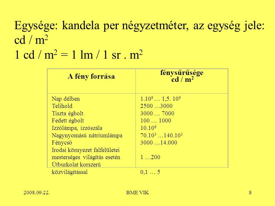 2008.09.22.BME VIK8 Egysége: kandela per négyzetméter, az egység jele: cd / m 2 1 cd / m 2 = 1 lm / 1 sr. m 2 A fény forrása fénysűrűsége cd / m 2 Nap