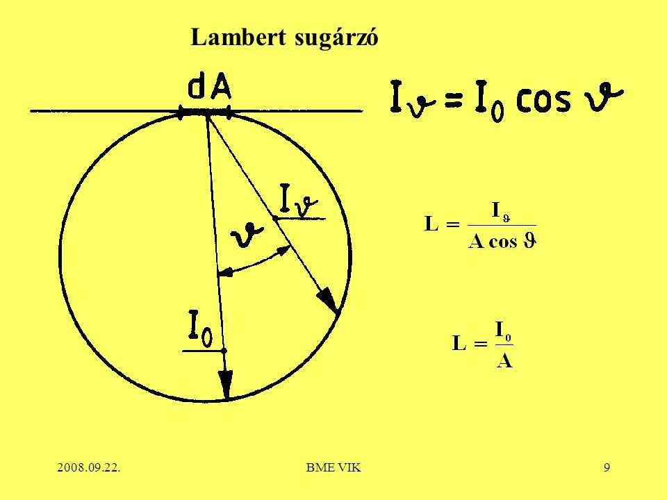 2008.09.22.BME VIK10 Lambert sugárzó esetén: Közvilágításban: