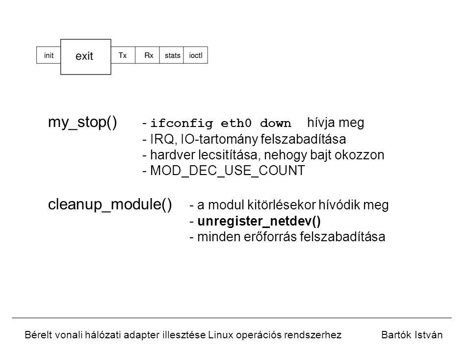 Bérelt vonali hálózati adapter illesztése Linux operációs rendszerhezBartók István my_header() - a hálózati réteg hívja meg - adatkapcsolati rétegbeli fejlécet készít a csomaghoz my_xmit() - a hálózati réteg hívja meg - beállítja a dev  tbusy -t, ezzel jelzi hogy foglalt az adója - átadja a keretet a hardvernek