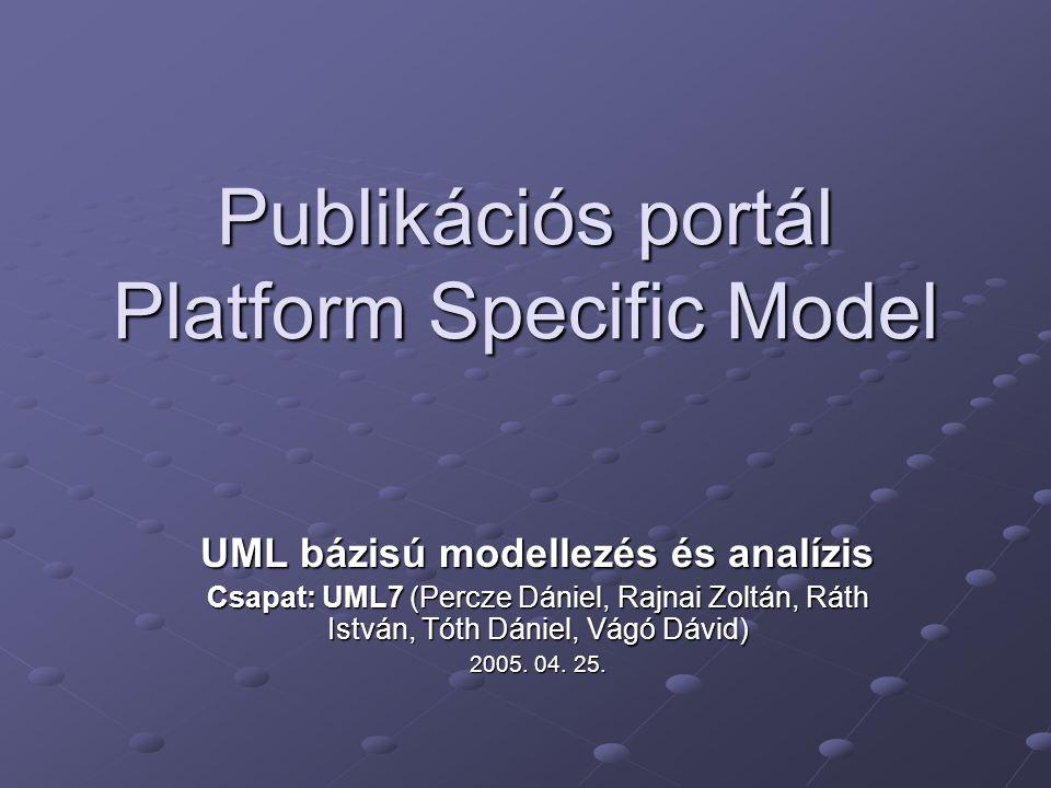 Publikációs portál Platform Specific Model UML bázisú modellezés és analízis Csapat: UML7 (Percze Dániel, Rajnai Zoltán, Ráth István, Tóth Dániel, Vágó Dávid) 2005.