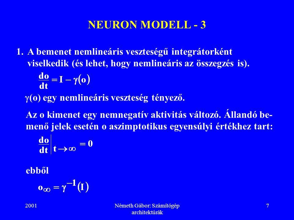 2001Németh Gábor: Számítógép architektúrák 8 NEURON MODELL - 4 2.A kimenet nagy aktivitásnál telítődik.