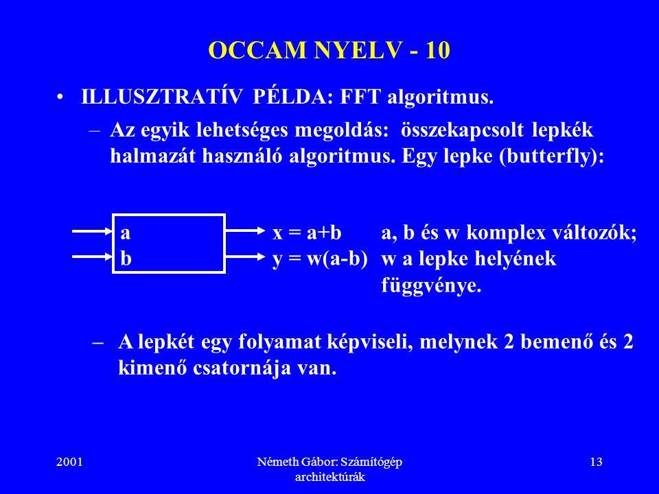 2001Németh Gábor: Számítógép architektúrák 13 OCCAM NYELV - 10 ILLUSZTRATÍV PÉLDA: FFT algoritmus.