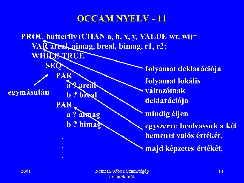 2001Németh Gábor: Számítógép architektúrák 14 PROC butterfly (CHAN a, b, x, y, VALUE wr, wi)= VAR areal, aimag, breal, bimag, r1, r2: WHILE TRUE SEQ PAR a .