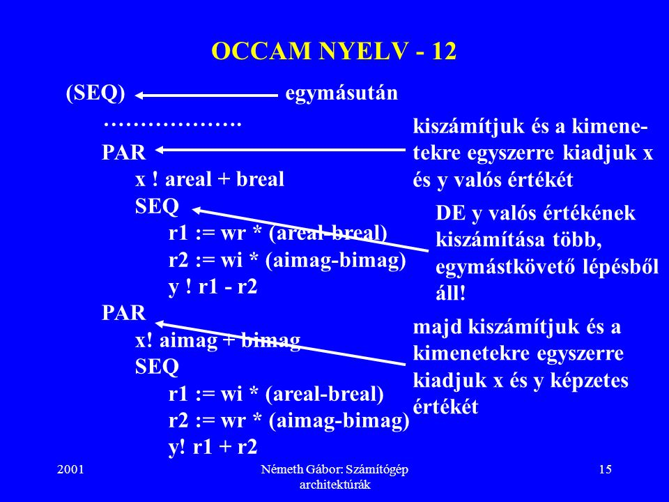 2001Németh Gábor: Számítógép architektúrák 15 OCCAM NYELV - 12 PAR x .