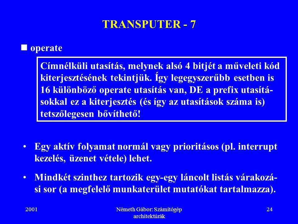 2001Németh Gábor: Számítógép architektúrák 24 TRANSPUTER - 7 operate Címnélküli utasítás, melynek alsó 4 bitjét a műveleti kód kiterjesztésének tekintjük.