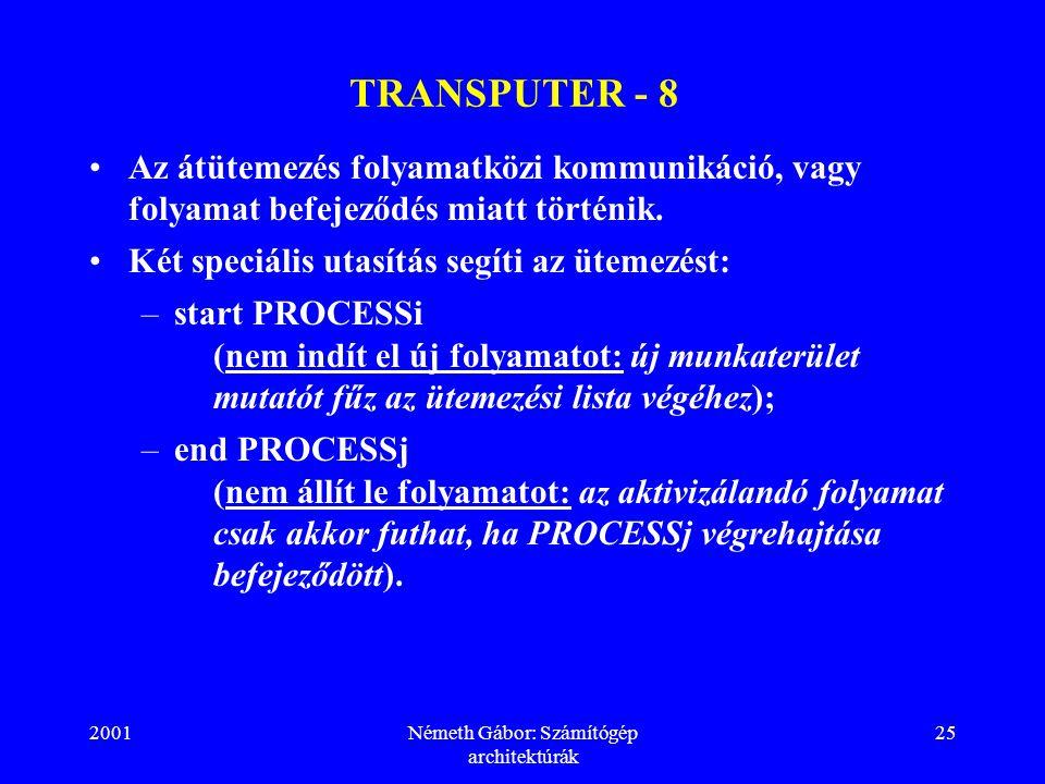 2001Németh Gábor: Számítógép architektúrák 25 TRANSPUTER - 8 Az átütemezés folyamatközi kommunikáció, vagy folyamat befejeződés miatt történik.