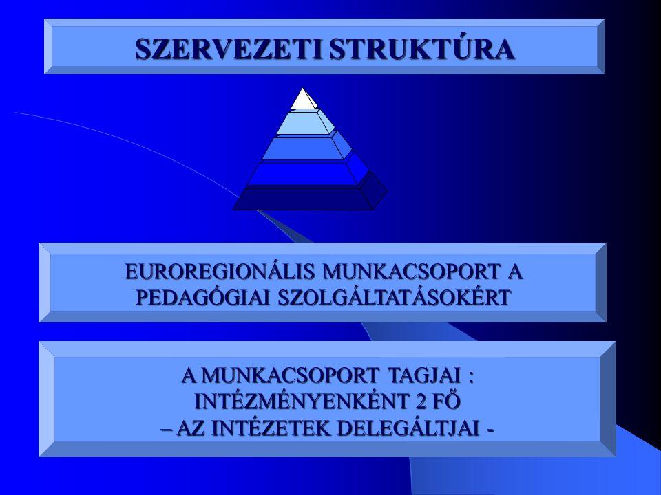 SZERVEZETI STRUKTÚRA EUROREGIONÁLIS MUNKACSOPORT A PEDAGÓGIAI SZOLGÁLTATÁSOKÉRT A MUNKACSOPORT TAGJAI : INTÉZMÉNYENKÉNT 2 FŐ – AZ INTÉZETEK DELEGÁLTJA