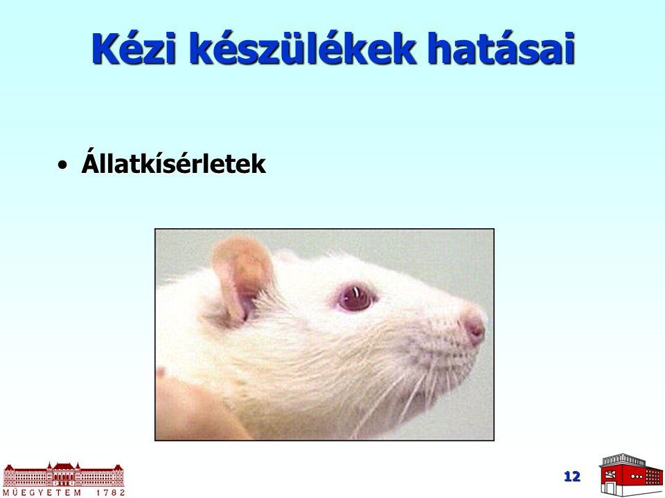 12 Kézi készülékek hatásai ÁllatkísérletekÁllatkísérletek