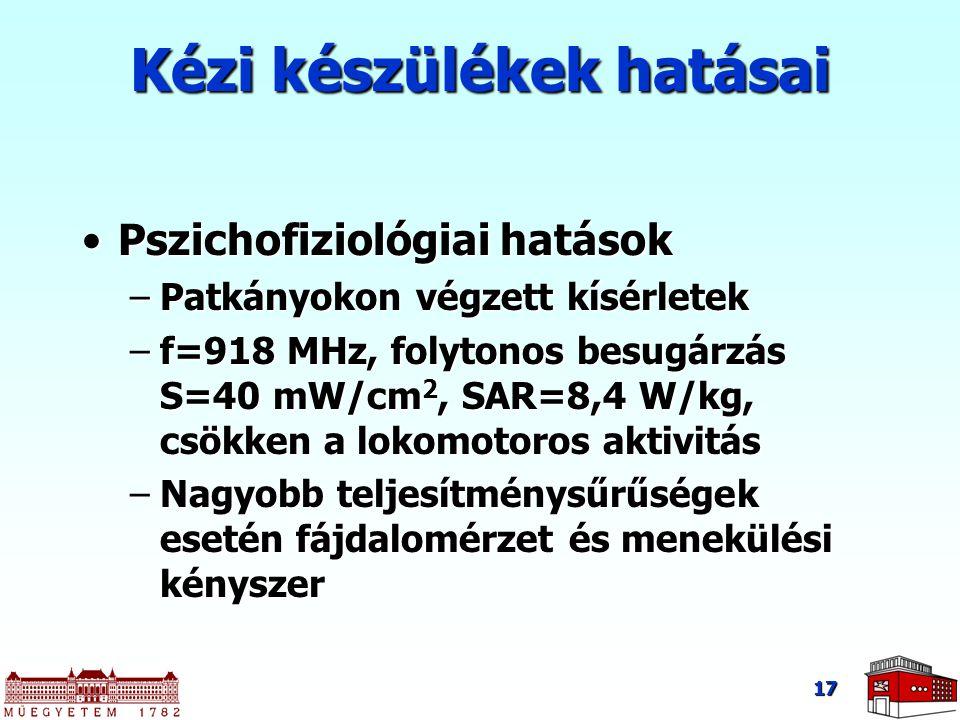 17 Pszichofiziológiai hatásokPszichofiziológiai hatások –Patkányokon végzett kísérletek –f=918 MHz, folytonos besugárzás S=40 mW/cm 2, SAR=8,4 W/kg, c