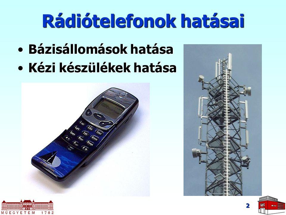 2 Rádiótelefonok hatásai Bázisállomások hatásaBázisállomások hatása Kézi készülékek hatásaKézi készülékek hatása