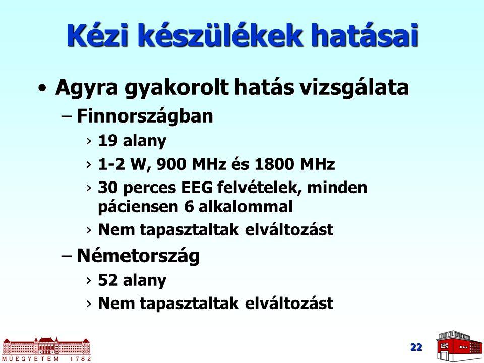 22 Agyra gyakorolt hatás vizsgálataAgyra gyakorolt hatás vizsgálata –Finnországban ›19 alany ›1-2 W, 900 MHz és 1800 MHz ›30 perces EEG felvételek, mi