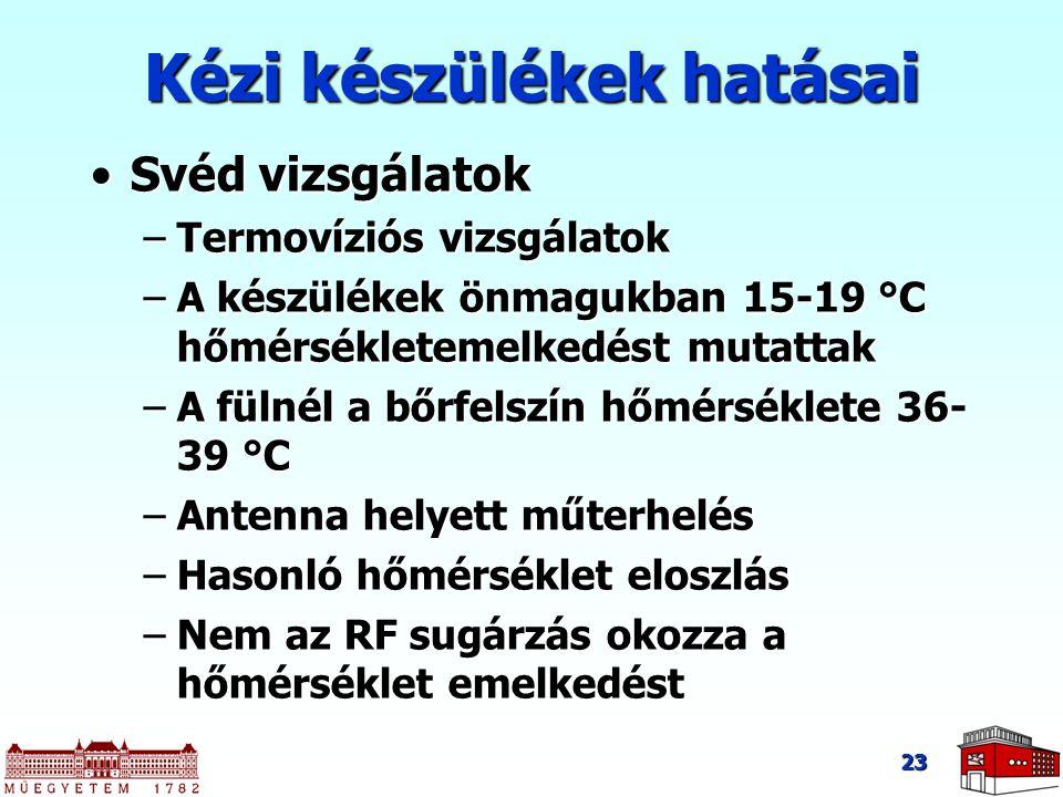 23 Svéd vizsgálatokSvéd vizsgálatok –Termovíziós vizsgálatok –A készülékek önmagukban 15-19 °C hőmérsékletemelkedést mutattak –A fülnél a bőrfelszín h