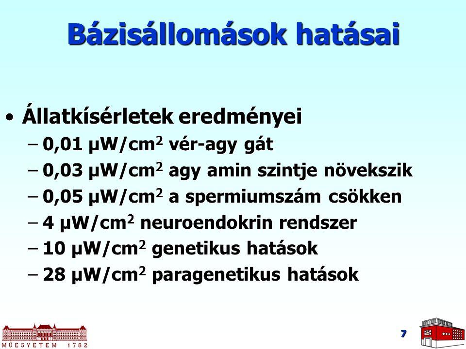 7 Állatkísérletek eredményeiÁllatkísérletek eredményei –0,01 μW/cm 2 vér-agy gát –0,03 μW/cm 2 agy amin szintje növekszik –0,05 μW/cm 2 a spermiumszám