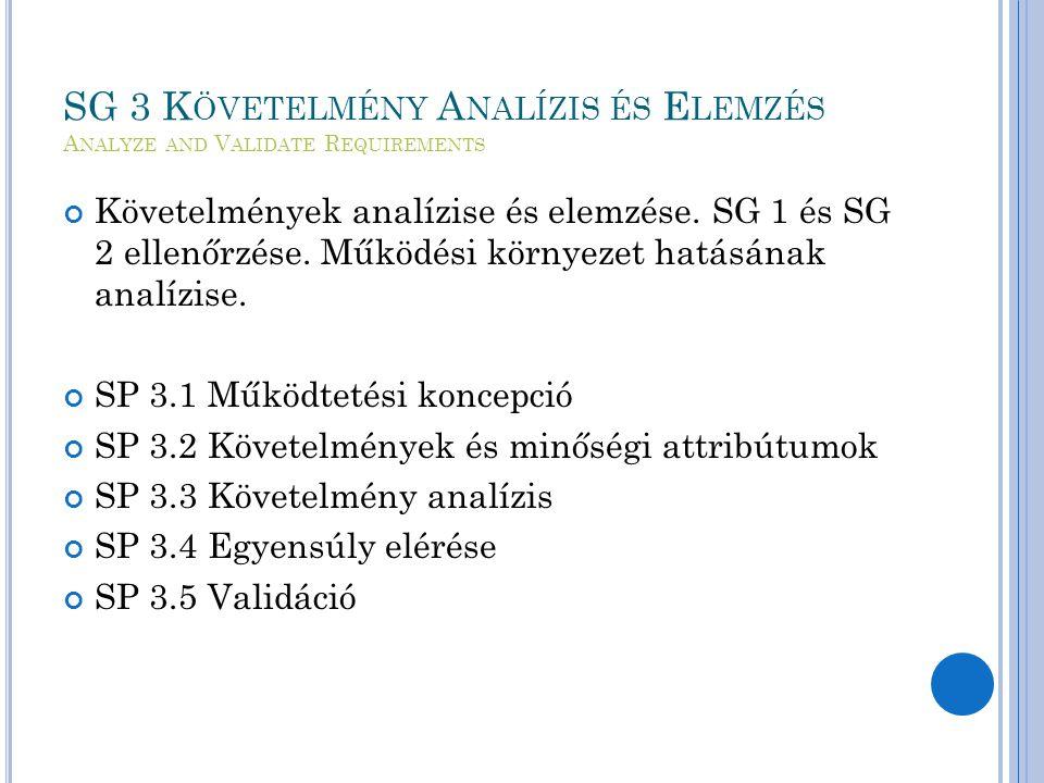 SG 3 K ÖVETELMÉNY A NALÍZIS ÉS E LEMZÉS A NALYZE AND V ALIDATE R EQUIREMENTS Követelmények analízise és elemzése.