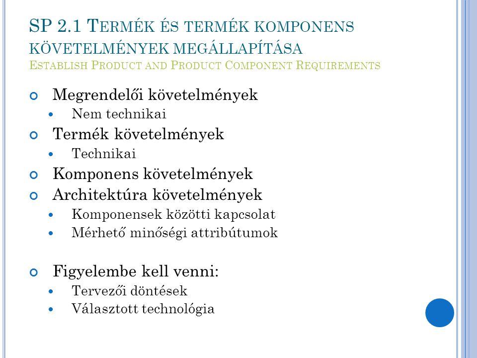 SP 2.1 T ERMÉK ÉS TERMÉK KOMPONENS KÖVETELMÉNYEK MEGÁLLAPÍTÁSA E STABLISH P RODUCT AND P RODUCT C OMPONENT R EQUIREMENTS Megrendelői követelmények Nem technikai Termék követelmények Technikai Komponens követelmények Architektúra követelmények Komponensek közötti kapcsolat Mérhető minőségi attribútumok Figyelembe kell venni: Tervezői döntések Választott technológia