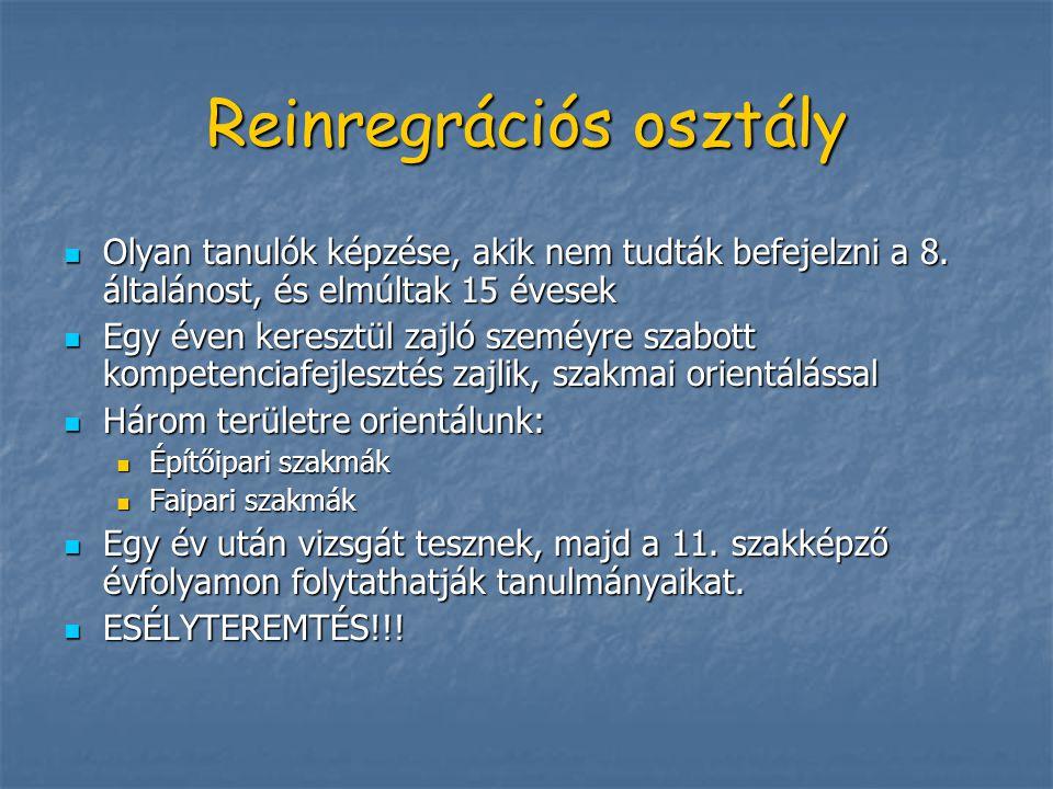 Reinregrációs osztály Olyan tanulók képzése, akik nem tudták befejelzni a 8.
