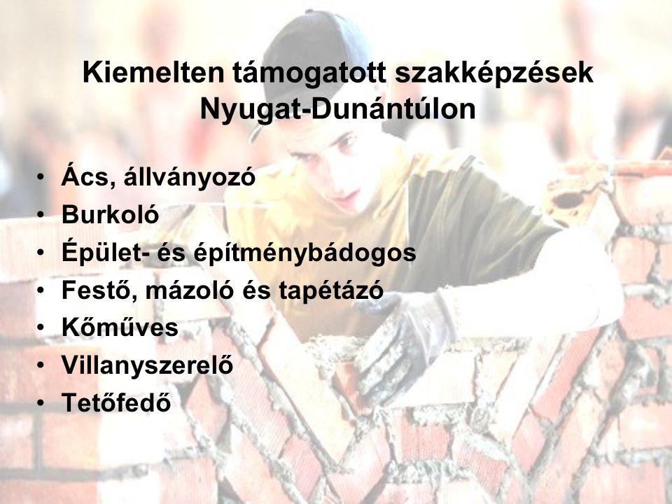 Kiemelten támogatott szakképzések Nyugat-Dunántúlon Ács, állványozó Burkoló Épület- és építménybádogos Festő, mázoló és tapétázó Kőműves Villanyszerelő Tetőfedő