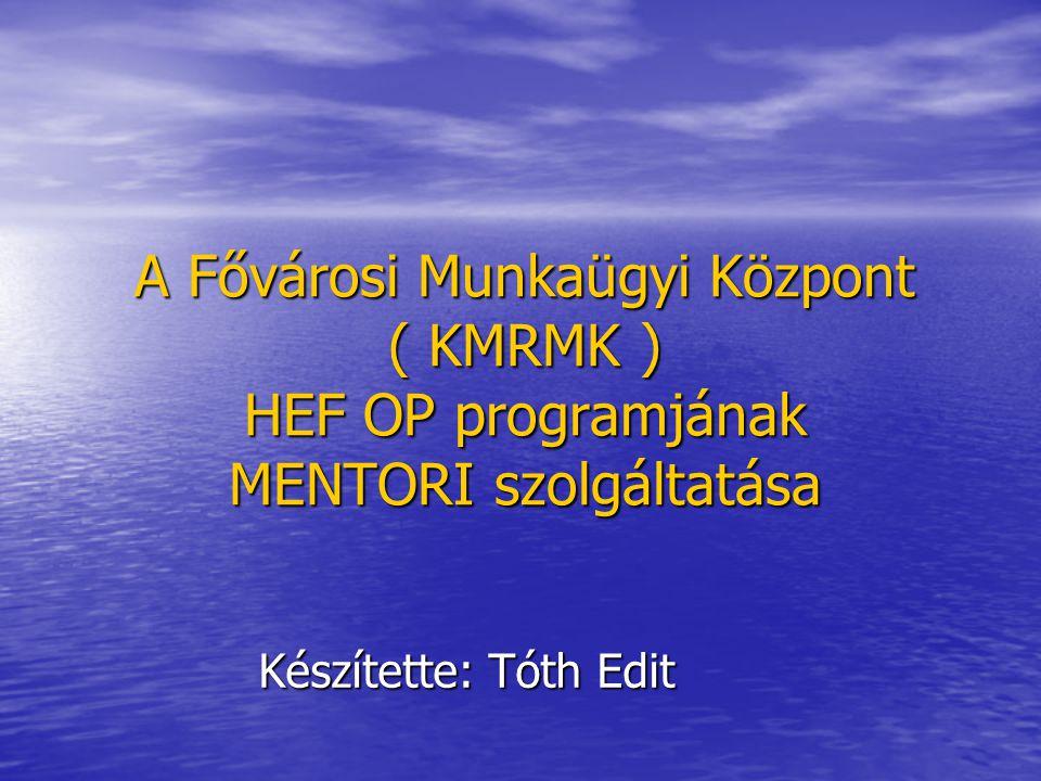 A mentorok képzése A képzés során a legnagyobb szerepe a mentori tevékenységgel kapcsolatos ismeretek elsajátításának volt.