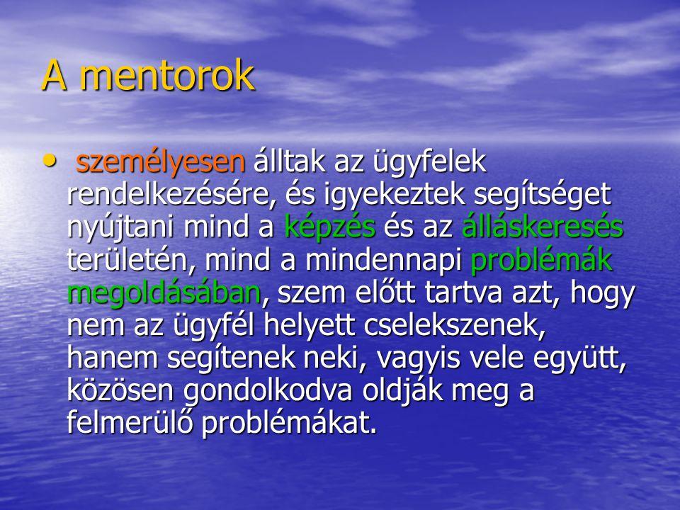 A mentorok kiválasztása A programba 2004-ben a tervek szerint 420 regisztrált munkanélkülit kellett bevonni.